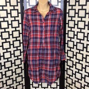 GAP plaid long shirt dress